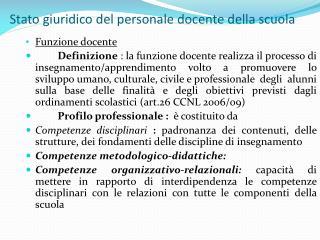 Stato giuridico del personale docente della scuola
