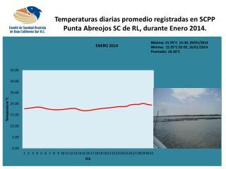 Temperaturas diarias promedio registradas en SCPP Punta Abreojos SC de RL, durante Enero 2014.