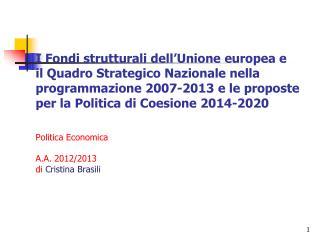 Quadro Strategico Nazionale  (QSN) 2007-2013