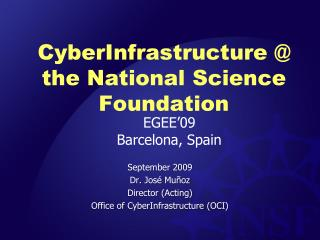 CyberInfrastructure  @ the National Science Foundation