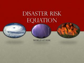 Disaster risk equation
