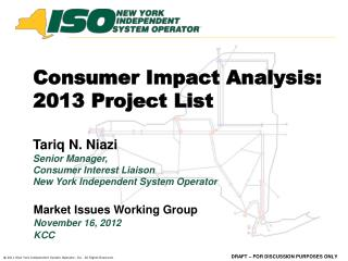 Consumer Impact Analysis: 2013 Project List