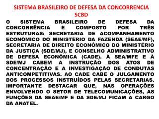 SISTEMA BRASILEIRO DE DEFESA DA CONCORRENCIA  SCBD