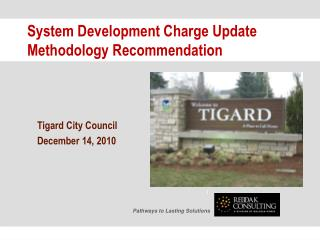 System Development Charge Update Methodology Recommendation