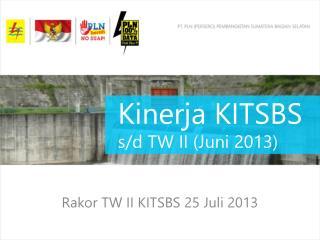 Kinerja  KITSBS  s/d TW II ( Juni  2013)