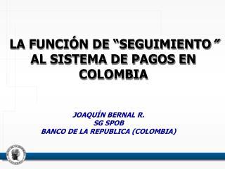 """LA FUNCIÓN DE """"SEGUIMIENTO """"   AL SISTEMA DE PAGOS EN COLOMBIA"""