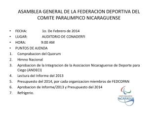 ASAMBLEA GENERAL DE LA FEDERACION DEPORTIVA DEL COMITE PARALIMPICO NICARAGUENSE