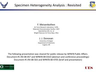 Specimen Heterogeneity Analysis : Revisited