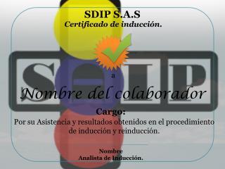 Certificado de inducción.