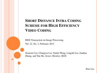 Short Distance Intra Coding Scheme for High Efficiency Video Coding