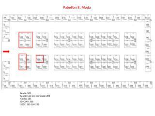 Moda: 301 Muestra de oro comercial: 202 Caldas: 201 IDPC/AP: 208 SDDE: 102-104-203
