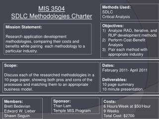 MIS 3504  SDLC Methodologies Charter
