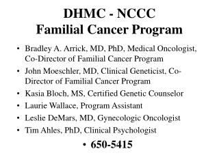 DHMC - NCCC Familial Cancer Program