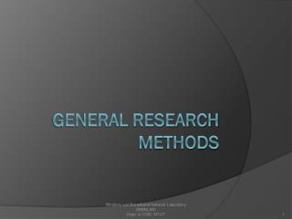 General Research methods