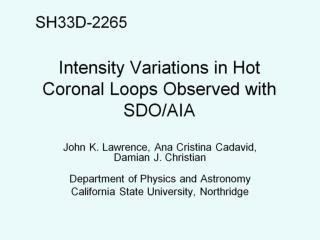 Intensity Variations in Hot Coronal Loops Observed with SDO/AIA