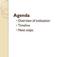 Agenda Overview of evaluation Timeline Next steps