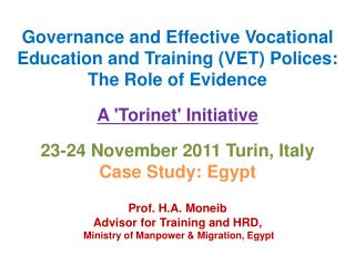 Governance and Effective Vocational Education and Training (VET) Polices: The Role of Evidence