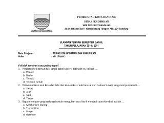 ULANGAN TENGAH SEMESTER  GANJIL TAHUN PELAJARAN 20 10  / 201 1