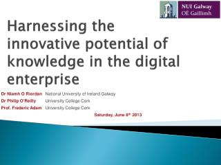 Harnessing the innovative potential of knowledge in the digital enterprise