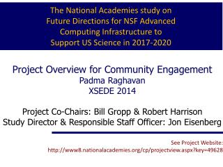 Project Overview for Community Engagement Padma Raghavan   XSEDE  2014