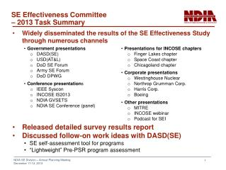 SE Effectiveness Committee – 2013 Task Summary