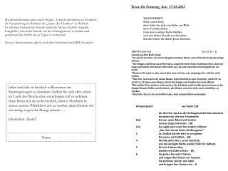 Texte für Sonntag, den  17.03.2013