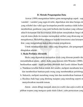 41 D. Metode Pengumpulan Data Azwar (1999) mengatakan bahwa guna mengungkap aspek - aspek atau