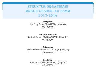 STRUKTUR ORGANISASI MNGGU KESIHATAN BSMM 2013-2014 Pengarah Lee Yong  Zhuan  FSK/NUTRI/2 (A141096)