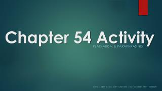 Chapter 54 Activity