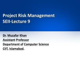 Project Risk Management SEII-Lecture 9