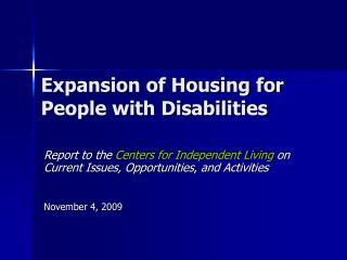 Expansion of Housing for People with Disabilities