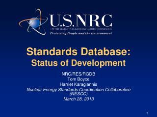 Standards Database:  Status of Development
