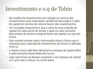Investimento e o  q  de Tobin