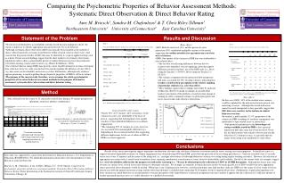 Comparing the  Psychometric Properties of Behavior Assessment Methods: