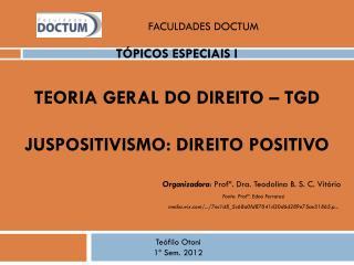 Tópicos Especiais I Teoria Geral do Direito –  TGD JUSPOSITIVISMO : Direito Positivo