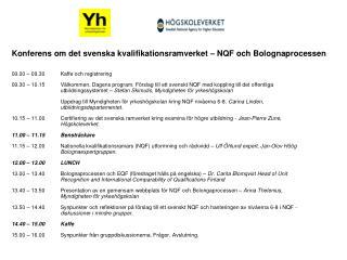 Konferens om det svenska kvalifikationsramverket – NQF och Bolognaprocessen
