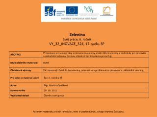 Zelenina Svět práce, 6. ročník VY_32_INOVACE_324 ,  17 . sada,  SP