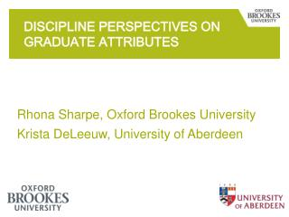 Discipline perspectives on graduate attributes