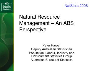 Natural Resource Management – An ABS Perspective