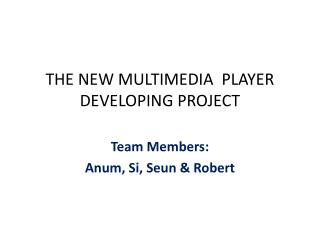 THE NEW MULTIMEDIA  PLAYER DEVELOPING PROJECT