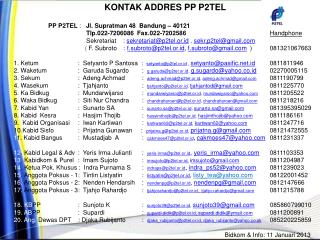 KONTAK ADDRES PP P2TEL                     PP P2TEL  :    Jl.  Supratman  48  Bandung – 40121