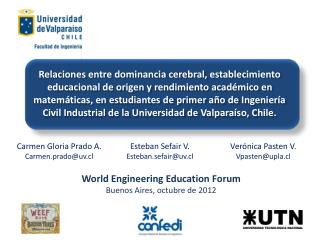 World Engineering Education Forum Buenos Aires, octubre de 2012