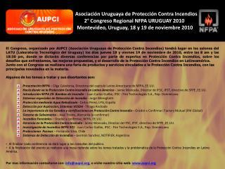 Asociación Uruguaya de Protección Contra Incendios 2 ° Congreso Regional NFPA URUGUAY 2010