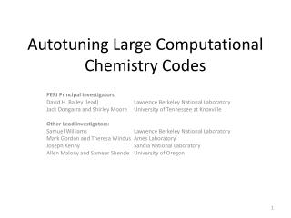 Autotuning  Large Computational Chemistry Codes