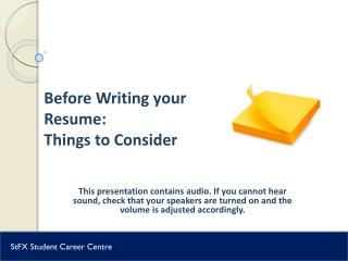 Before Writing your Resume:  Things to Consider