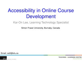 Accessibility in Online Course Development