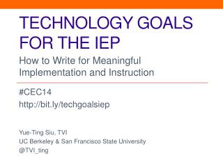 Technology goals for the iep