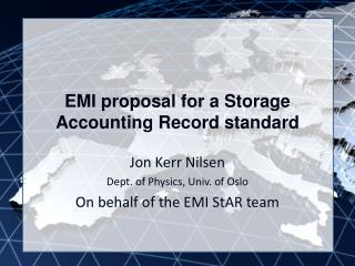 EMI proposal for a Storage Accounting Record standard