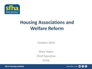 Housing Associations and Welfare Reform