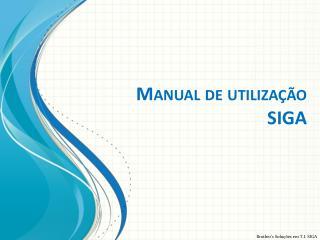 Manual de utilização  SIGA